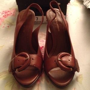 Cinnamon Leather Peep toe sling back