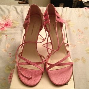 Pink leather open toe heels
