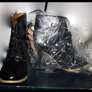 Leather Black Booties (Brand New) NWOT