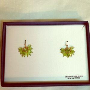 Light Green Stone Cluster Earrings