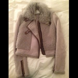 Phillip Lim suede shearling fur bomber jacket XS/S