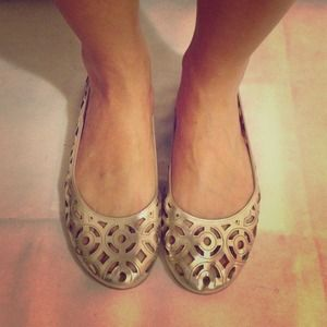 NEW COACH Gold Cutout Leather Flats