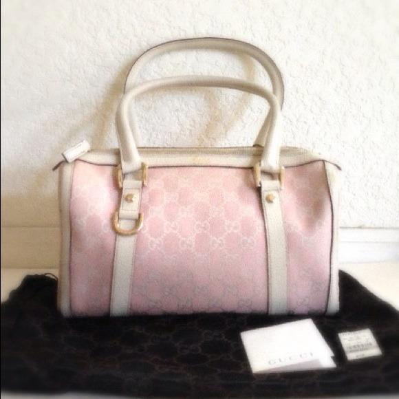 56% off Gucci Handbags - AUTH Gucci pink white GG small Boston bag ...
