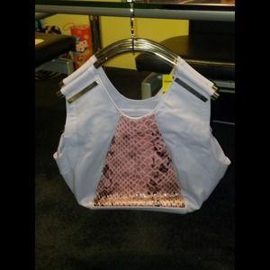 Lavender Faux Snakeskin & Leather Bag
