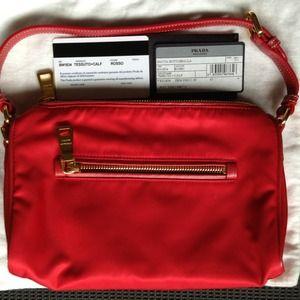 Prada Tessuto Tate Red Zip Top  Bag NWT