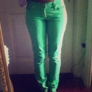 Denim - Neon Green Pants