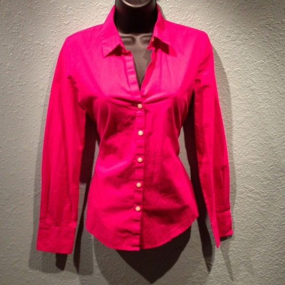 73% off Old Navy Tops - ✋TRADED✋ Hot Pink Long Sleeve Work Dress ...