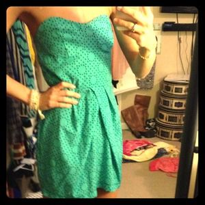 REDUCEDTeal Printed Strapless Dress, Size S