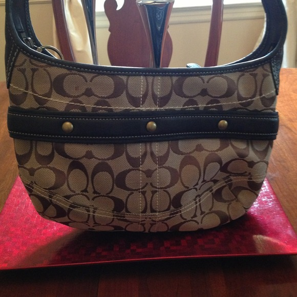 87 off coach handbags coach brown leather and monogram