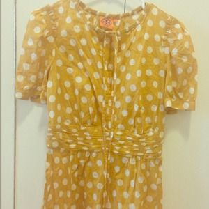Tory Burch⬇️reduced⬇️ Yellow Ruth Polka Dot top