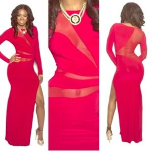 PNK Elephant Dresses & Skirts - Red Mesh Long Maxi Dress