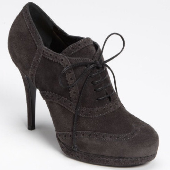 Yves Saint Laurent Shoes - HOST PICK  Tribute Grey Suede Oxford Bootie 40 NWT
