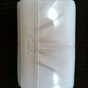 White and Brown Authentic Leather Trifold Wallet