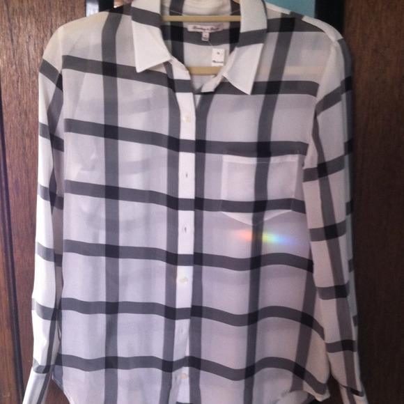 Madewell Grid Print Silk Shirt - Small NEW!!
