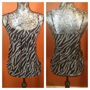 NWOT Candy Rain Zebra Black Gray Top Size Small