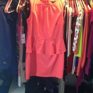 HM peplum dress-coral