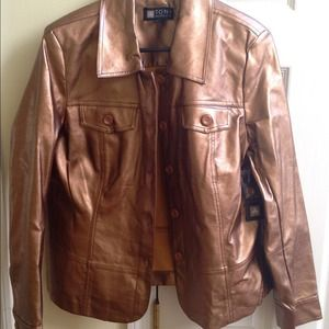Gold/Bronze  faux leather jacket