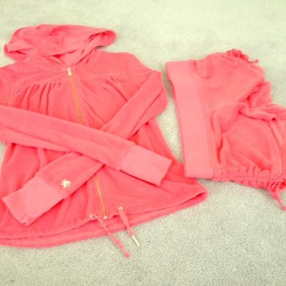 Express Pants Jumpsuits Hot Pink Velour Short Sweat Suit Poshmark