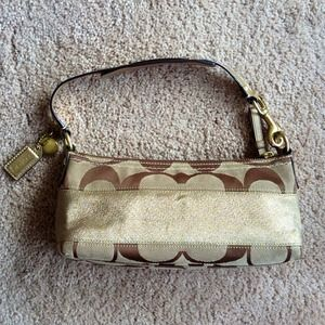 Gold and brown Coach handbag- Authentic