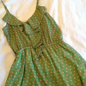 Green Dress with Ruffle Details