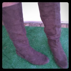 Brown micro suede boots