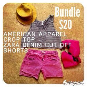 ✨Bundle✨ American Apparel Top & Zara cut-offs