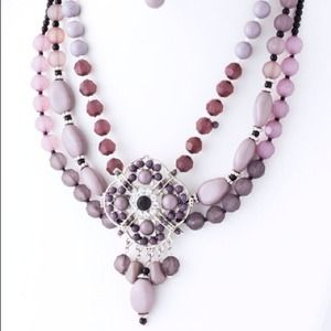 *Multi-Strand Beaded Pendant Necklace w/Earrings*