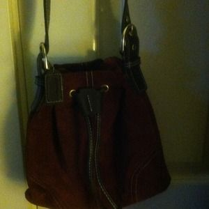 "Authentic"" Vintage Coach"" Cross-body Suede Handbag"