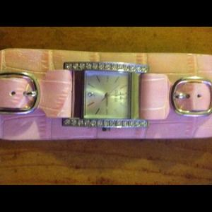 Guess pink leather watch