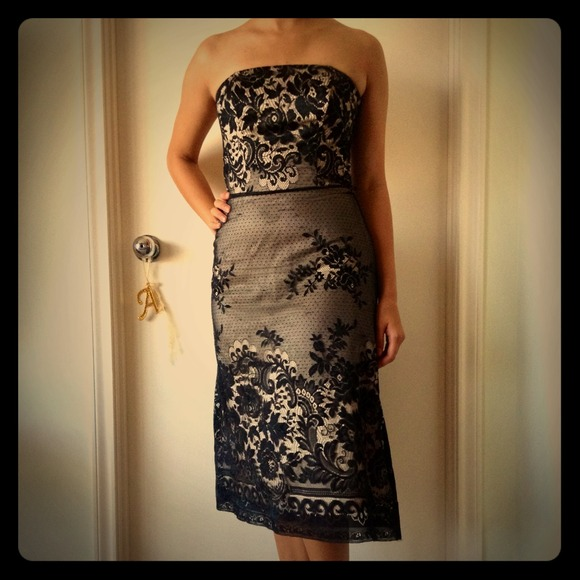 White House | Black Market Dresses & Skirts - Black lace over nude dress