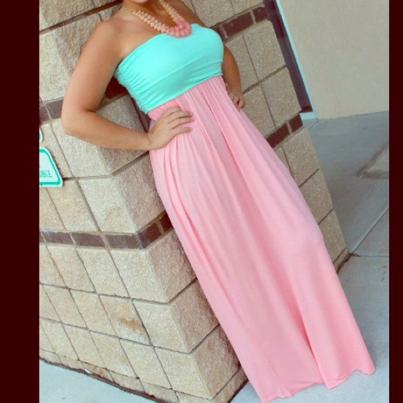 48% off Dresses & Skirts - Pink/Blue Maxi dress from Adrian's ...