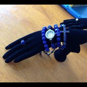 Jewelry - 5 piece shamballa set blue