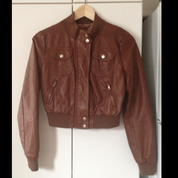 38% off Jackets & Blazers - Faux Leather Brown Cropped Jacket from ...