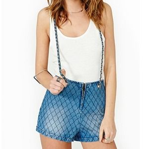 Rehab Clothing Pants - Light Blue Quilted Denim Jumpsuit with Chain