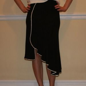 Black with white trim skirt, by Yigal Azrouel