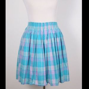Pastel Plaid Cotton Summer Skirt