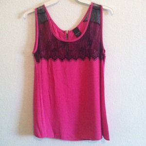 NOWT Hot Pink Top with Black Lace!!