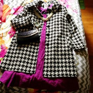 💙NWOT Charles Gray London houndstooth overcoat