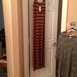 Forever 21 Dresses - Forever 21 brown and black stripe long maxi dress