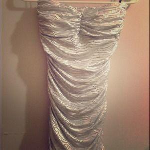 Metallic Ruched strapless Dress