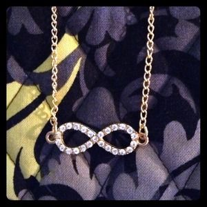 Gold Rhinestone Infinity Necklace