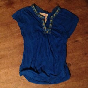 Free People cerulean blue top w/ detailed collar