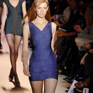 Herve Leger vneck purple bandage bodycon dress xs