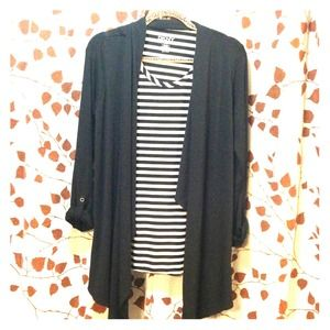 ----SOLD-----DKNY Striped Shirt/Cardigan Combo