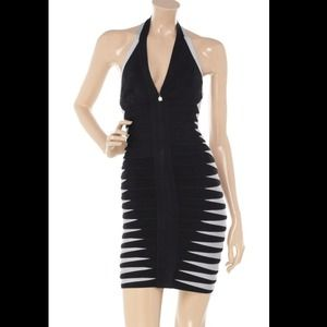 Herve Leger halterneck bodycon bandage dress xs