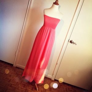 SALE Strapless Coral Tube Maxi Dress