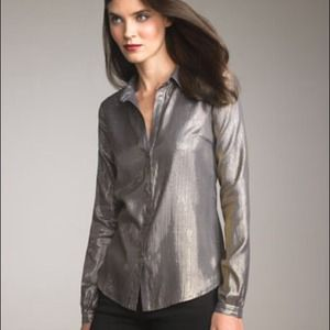 Elizabeth &James Size 10 Gold Metallic Blouse NWT