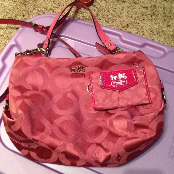 2c13cc0c27 Coach Handbags - Pink fabric coach bag w  matching coin card purse