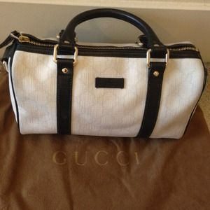  Gucci Authentic White Joy Boston Leather Bag 