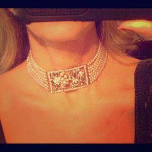 Jewelry - Pink Pearl & Rhinestone Choker.  One-of-a-Kind.